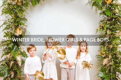 Winter Bride, flower girls and page boys